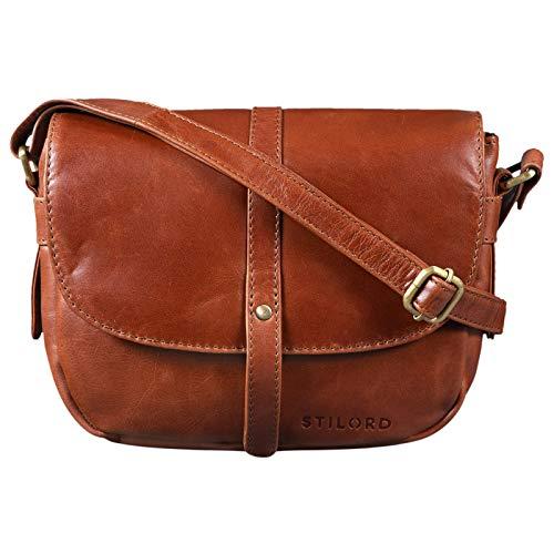 STILORD 'Clara' Kleine Umhängetasche Frauen Leder Vintage Handtasche zum Ausgehen Klassische Abendtasche Partytasche Freizeittasche Echtleder, Farbe:Cognac – glänzend