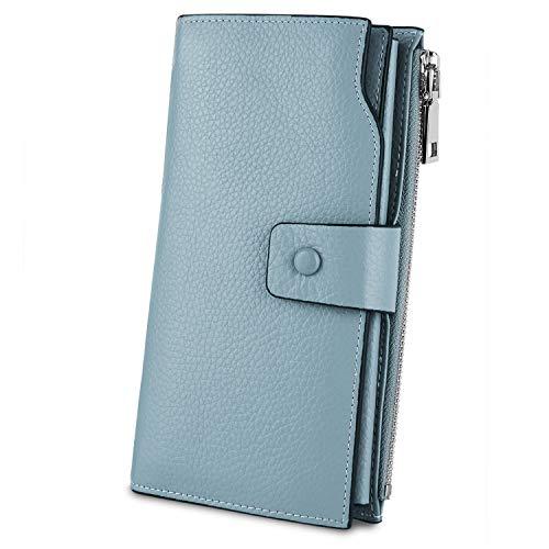 YALUXE Geldbörse Echtleder Damen Wristlet Wallet Clutch für Frauen 21 Kartensteckplätze Telefon Umschlag Zip Münzfach Lichtblau