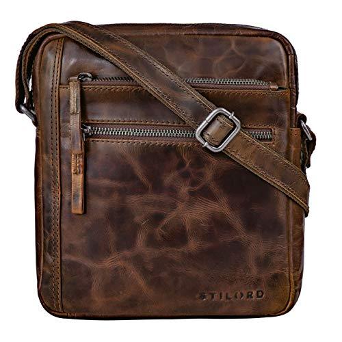 STILORD 'Garcia' Kleine Umhängetasche Echtleder Braun Vintage Messenger Bag Ledertasche für 9,7 Zoll iPad und 10,1 Zoll Tablet Moderne Schultertasche aus Leder, Farbe:Sepia – braun
