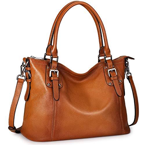 S-ZONE Damen Schultertasche Vintage Echtleder Weiches Ledertasche Groß Shopper Henkeltasche Tote Bag Handtasche Umhängetaschen