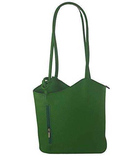Freyday 2 in 1 Handtasche-Rucksack Henkeltasche aus Echtleder in versch. Designs (Glattleder Grün)