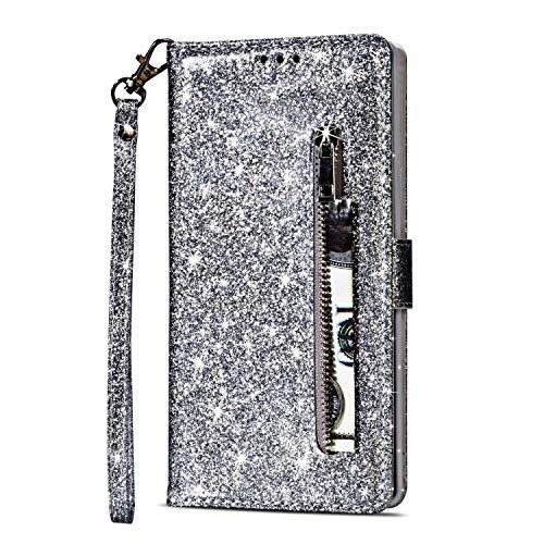 Yobby Glitzer Brieftasche Hülle für Samsung Galaxy S7, Samsung Galaxy S7 Silber Handyhülle Bling Slim Reißverschluss Leder Schutzhülle Flipcase [Stand-Funktion] mit Kartenfach und Handschlaufe
