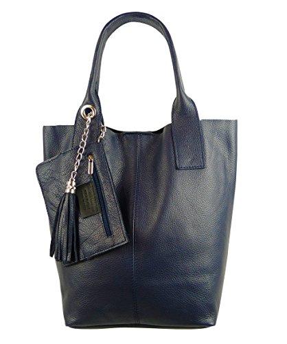 Freyday Damen Echtleder Shopper mit Schmucktasche in vielen Farben Schultertasche Henkeltasche Handtasche Metallic look (Dunkelblau)