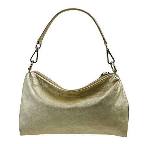 SH Leder Echtleder Umhängetasche mittelgroße schultertasche Abendtasche Clutch Crossbody Bag Messenger Handtasche mit Reißverschluss 33x20cm Lovelin G393 (Gold)