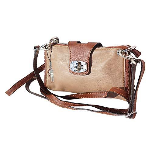 Florence echtes Leder 2in1 Tasche Damen Abendtasche Wristlet Schultertasche helltaupe braun 22x4x13 inklusive Feenanhänger D1OTF801C Leder Tasche von Florence für die Frau