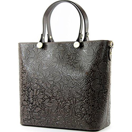 modamoda de – T132 – ital Damentasche Shopper aus Echtleder, Farbe:Blüten Dunkelbraun