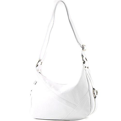 modamoda de -T164 – ital Schultertasche Umhängetasche aus Leder, Farbe:Weiß