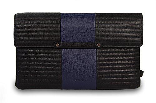 Picard Le Mans echt Leder Abendtasche Schultertasche Clutch Kombi blau – schwarz, 28x13x7 cm (B x H x T)