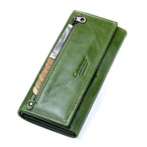 Contacts Frauen echtes Leder Reißverschluss Münze Clutch Geldbörse Telefon Brieftasche (Grün)
