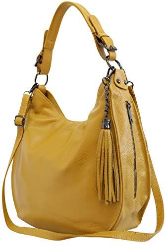 AmbraModa Italiensche Damenhandtasche Schultertasche Hobo Bag aus Echtleder GL026 (Senfgelb)