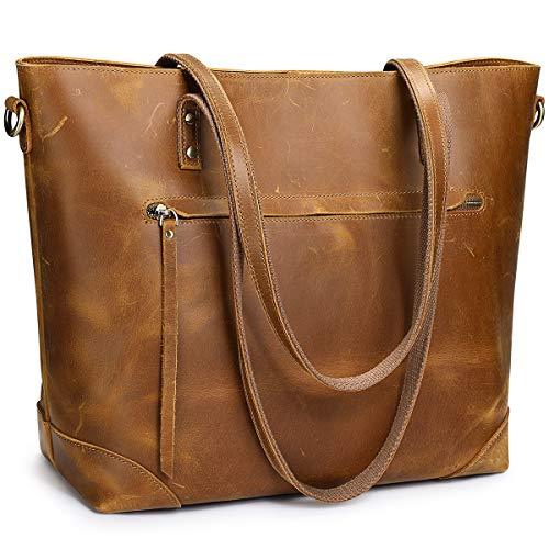 S-ZONE Damen Schultertasche Vintage 3-Wege Echtleder Laptoptasche Reisetasche Arbeitstasche Geldbörse Handtasche Messenger Bag