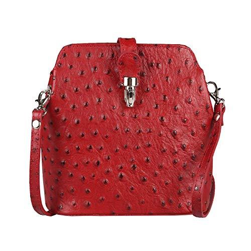 OBC Made in Italy echt Leder Tasche Strauß Prägung Crossbody Crossover Vera Pelle Umhängetasche Ledertasche Schultertasche Abendtasche (Dunkelrot)