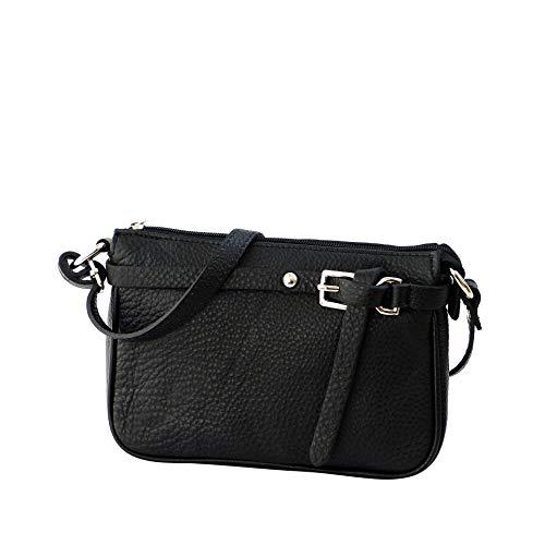 SH Leder ® Echtleder Umhängetasche kleine Tasche Crossbody Bag Messenger Handtasche mit Reißverschluss – Abendtasche City Clutch Party – 22x15cm Yvonne G157 (Schwarz)