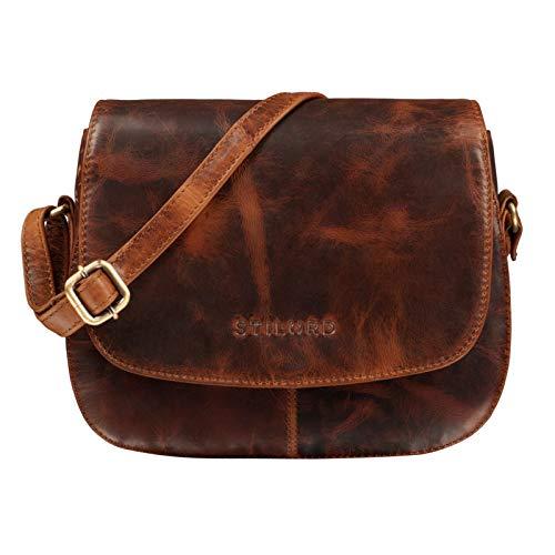 STILORD 'Savannah' Umhängetasche Damen Leder Handtasche kleine Schultertasche Crossbody Bag Ausgehtasche Partytasche Echtleder, Farbe:Kara – Cognac