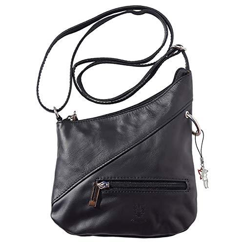 Florence Damen Umhängetasche Abendtasche Tasche schwarz Echtleder OTF100S Leder Umhängetasche