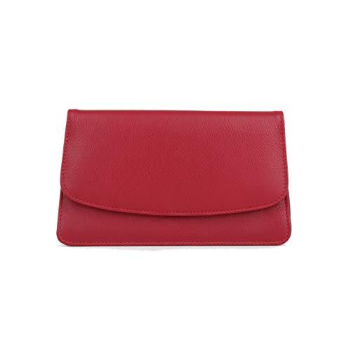 MANAGE Kosmetiktasche Damen mit Spiegel – Schminktasche klein aus echtem Leder – edle Clutch Rot 18,5x10x3,5cm