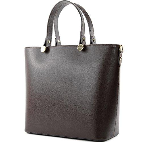 modamoda de – T132 – ital Damentasche Shopper aus Echtleder, Farbe:Dunkelbraun