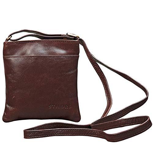 STILORD 'Lana' kleine Umhängetasche Damen 16 x 18 x 2 cm Ausgehtasche Schultertasche Handtasche echtes Büffel Leder Vintage Design Größe S, Farbe:schokoladen – braun