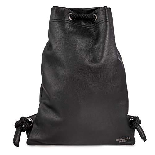 Berliner Bags Premium Gym Bag Turnbeutel aus Echtes Leder Beutel Rucksack Sportbeutel Turntasche Wasserdicht Damen Herren Schwarz