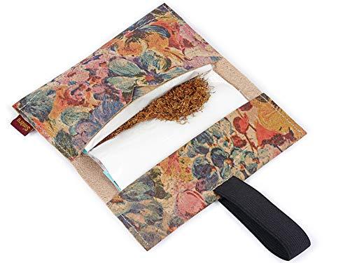 SIMARU Tabaktasche Drehertasche aus stabilem Kork, ideal für deinen Drehtabak/Tabak, Tabakbeutel BZW. Tasche in vielen Farben erhältlich, Tabaketui für Herren und Damen (Blumenmuster)