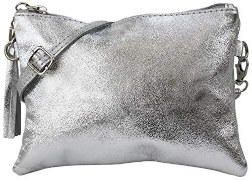 SH Leder Echtleder Umhängetasche Clutch kleine Tasche Abendtasche 22x15cm Anny G248 (Silber)