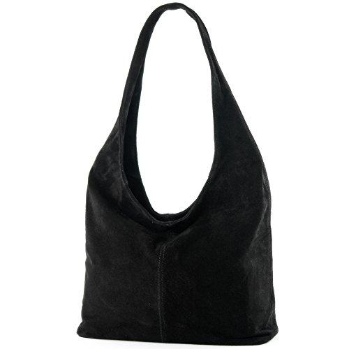 modamoda de – T150 – ital Schultertasche aus Leder Wildleder, Farbe:Schwarz