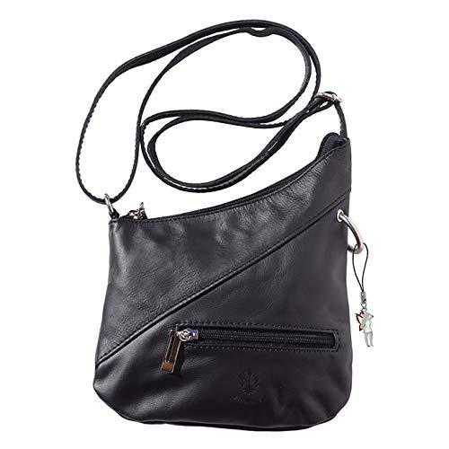 Florence Echt-Leder Tasche Damen Mini Umhängetasche Abendtasche schwarz 20x2x22 inklusive Feenanhänger D1OTF100S Leder Tasche von Florence für die Frau
