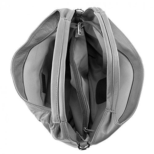 modamoda de – DS26 – ital Damenhandtasche aus Nappaleder, Farbe:T61 Dunkelbraun