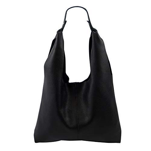 SH Leder ® Ital. Damen Echtleder Shopper Schultertasche Henkeltasche aus Genarbt Leder – Lena G299 (Schwarz)