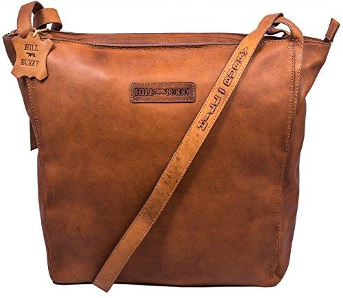 Hill Burry Damen Shopper   aus weichem hochwertigem Leder Bag Beutel   Umhängetaschen Schulterbeutel – Abendtasche   Handtasche – Schultertasche (Braun)