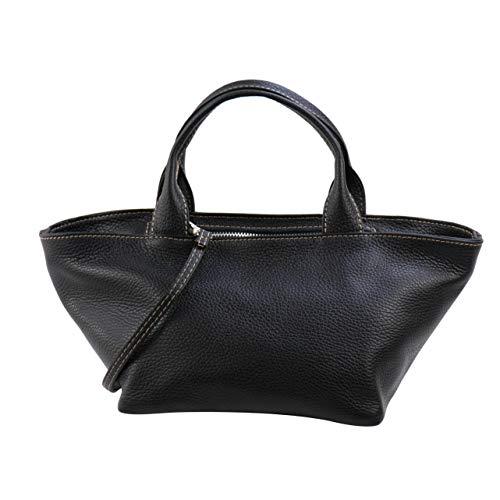 SH Leder Echtleder Handtasche leichte Umhängetasche aus Genarbte Rindeder 36x15cm Luisa G495 (Schwarz)