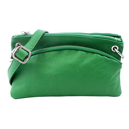 SH Leder Echtleder Umhängetasche Clutch kleine Tasche Abendtasche 24,50x14cm G1619 (Grün)