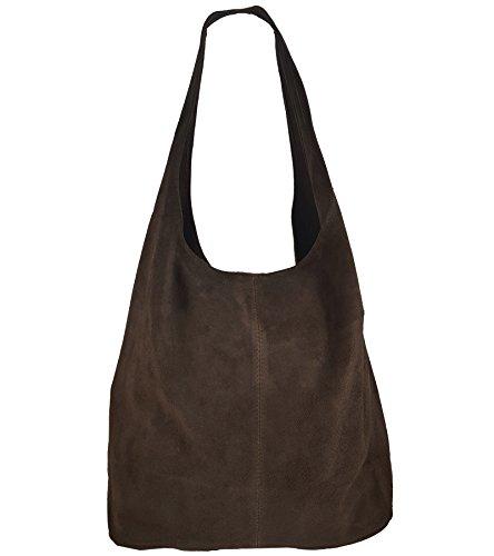 Freyday Damen Ledertasche Shopper Wildleder Handtasche Schultertasche Beuteltasche Metallic look (Dunkelbraun)