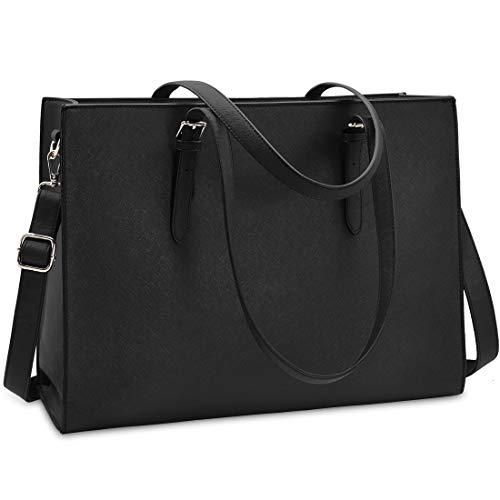 Handtasche Shopper Damen Große Schwarz Handtasche Leder Umhängetasche Arbeitstasche Gross Laptop Business Schule Taschen 15.6 Zoll