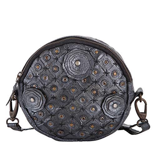 Rada Nature Magnolia Umhängetasche aus echtem Leder, kleine modische Schultertasche für Damen, runde Abendtasche für Frauen mit abnehmbarem Schulterriemen (metallic silber)