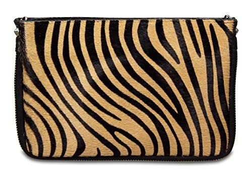 IO.IO.MIO. echt Leder Damentasche Umhängetasche Clutch Leder und Fell Mix Tiger, 22×15,5×2 cm (B x H x T)