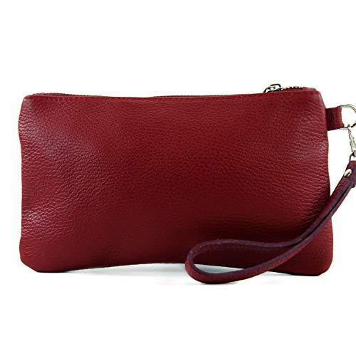 modamoda de – T193 – ital. Clutch Handgelenktasche Leder Small, Farbe:Purpurrot