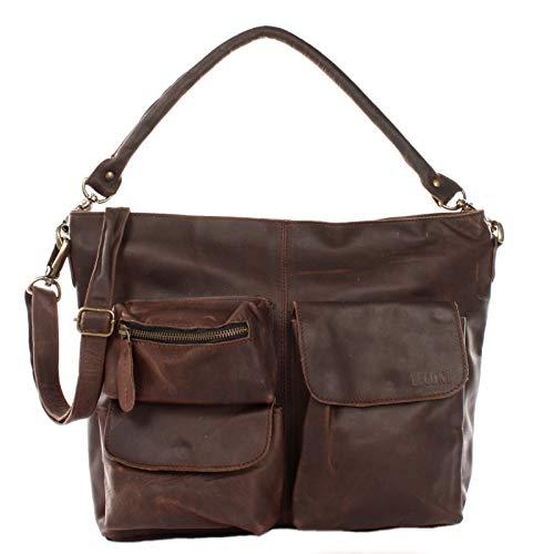 LECONI Schultertasche Ledertasche für Damen Vintage-Look echtes Leder Natur großer Shopper Lederhandtasche für DIN A4 Damentasche Frauen Handtasche 41x32x10cm dunkelbraun LE0039-wax