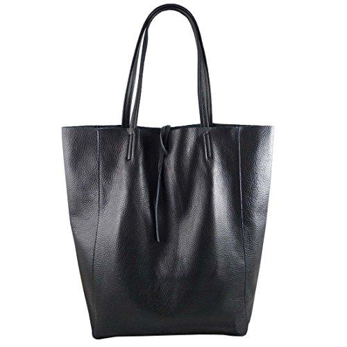 Freyday Damen Echtleder Shopper mit Innentasche in vielen Farben Schultertasche Henkeltasche Metallic look (Schwarz)