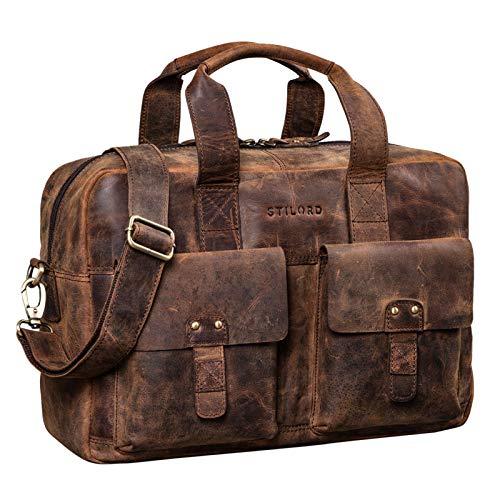STILORD 'Anouk' Vintage Umhängetasche Leder Gross 13,3'' für Herren Damen Laptoptasche Schultertasche DIN A4 Aktentasche Hochwertiges Echtleder, Farbe:Sepia – braun Plain