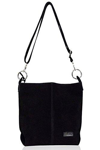zarolo Damen Handtasche, Beuteltasche Shopper, Leder Schultertasche, Hobo Bag, echtes Leder/Wildleder