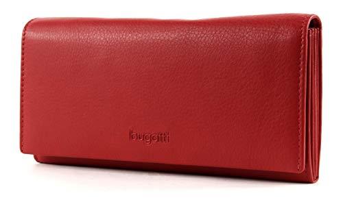 Bugatti Vertice Geldbörse Damen Groß viele Fächer Leder 25CC – Portemonnaie Damen Leder – Portmonee Geldbeutel Damengeldbörse – Rot