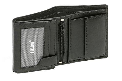 LEAS Mini-Kombibörse mit Riegel RFID- Schutz extra dünn im Hochformat Echt-Leder, schwarz Mini-Edition