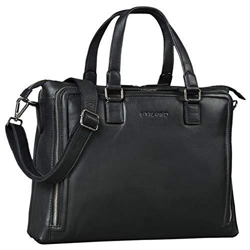 STILORD 'Claire' Businesstasche Damen Leder 15 Zoll Laptoptasche DIN A4 Aktentasche Umhängetasche und Handtasche Büro, Farbe:schwarz
