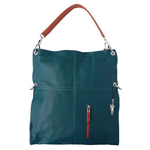Florence Damen Schultertasche Beuteltasche blau echtes Leder 37x6x40 OTF102B Leder Beuteltasche